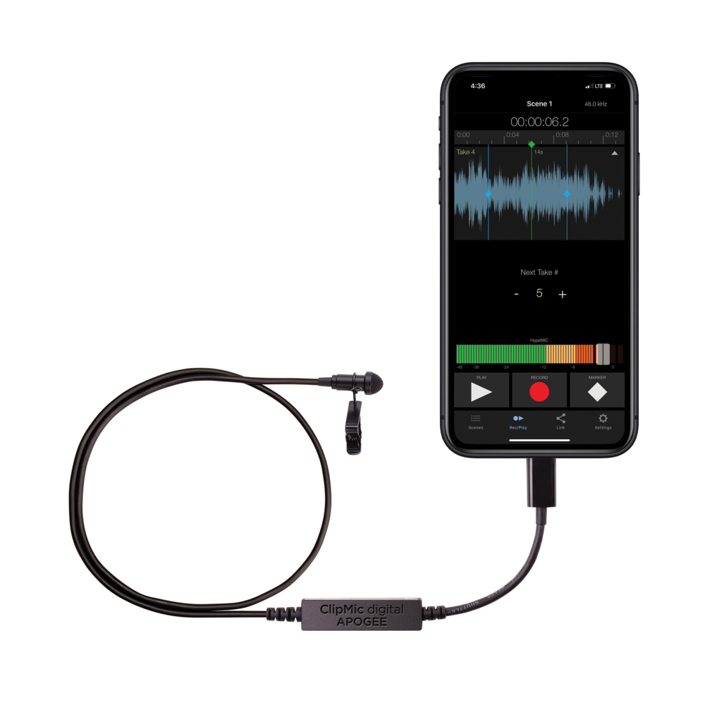 Apogee ClipMic digital premium lavalier microphone for iPhone and iPad now shipping
