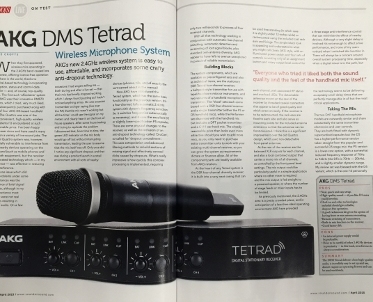 SOS review 'high-quality' and 'incredibly easy' AKG DMS Tetrad Wireless Microphone System