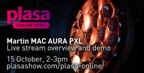 Live stream Martin MAC Aura PXL demo and overview as part of PLASA Online event