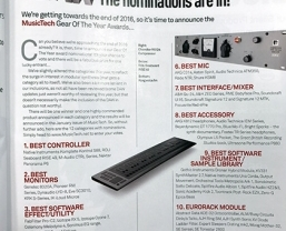 Sound Technology products nominated in MusicTech magazine's Gear of the…