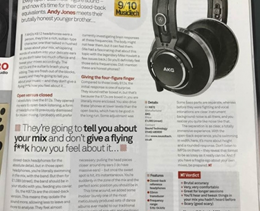 AKG K872 flagship closed-back headphones receive MusicTech 'Choice' award