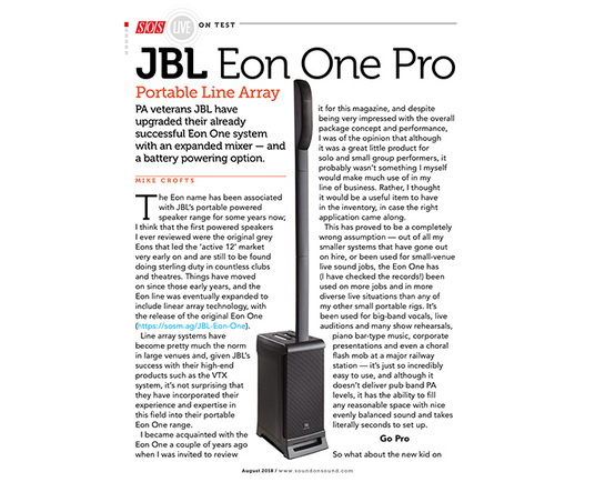 Sound On Sound review the 'highly portable, practical and versatile' JBL EON ONE Pro