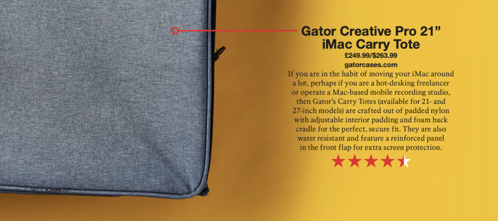 iCreate magazine features the new Gator Creative Pro 21″ iMac Carry Tote