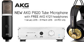 Free AKG K121 headphones with new AKG P820 Tube Microphone until 31 March 2015