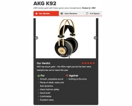 AKG K92 headphones in five-star What Hi-Fi? review