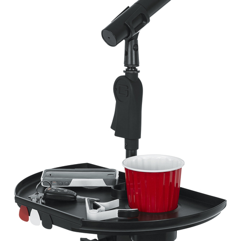 GFW-MICACCTRAYXL Extra Large Microphone Stand Accessory Tray with Drink Holder and Guitar Pick Tab